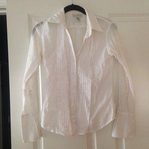 Banana Republic cotton pleated blouse white XS